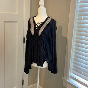 Beautiful Free People Black Lace Up top